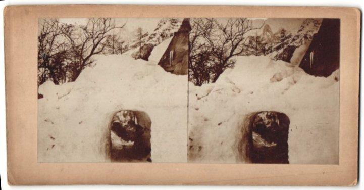 Stereo-Fotografie unbekannter Fotograf, Tunnel durch Schnee im Gebirgre
