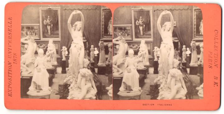 Stereo-Fotografie B. K. Paris, Ausstellung Paris, Exposition Universelle 1878, Section Italienne, Figuren, Bildauerei 0
