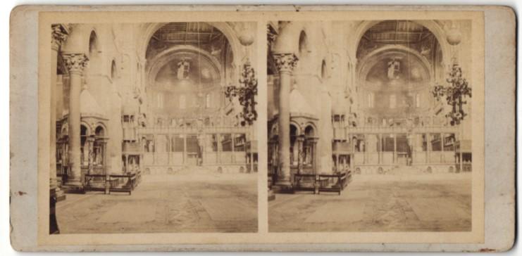 Stereo-Fotografie unbekannter Fotograf, Ansicht Venedig, San Marco, Innenansicht 0
