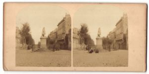 Stereo-Fotografie unbekannter Fotograf, Ansicht Bordeaux, Denkmal im Ort, Statue