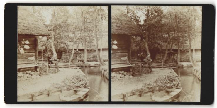 Stereo-Fotografie Fotograf unbekannt, Ansicht Lehde / Spreewald, Partie im Dorf
