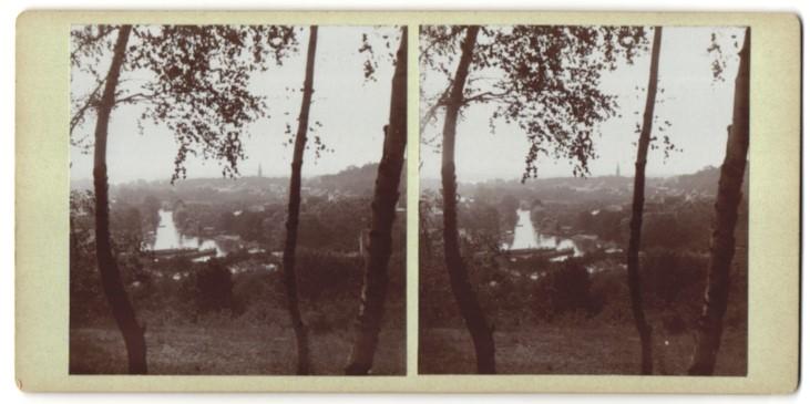 Stereo-Fotografie Fotograf unbekannt, Ansicht Rüdersdorf / Mark, Ortschaft von einer Anhöhe gesehen