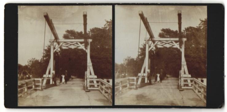 Stereo-Fotografie Fotograf unbekannt, Ansicht Bindow, Partie an der Zugbrücke 0