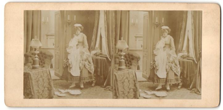 Stereo-Fotografie Dienstmädchen bei der Arbeit 0