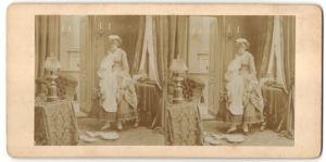 Stereo-Fotografie Dienstmädchen bei der Arbeit