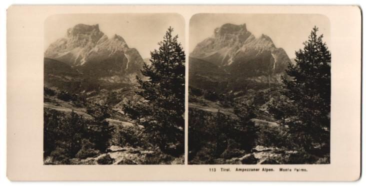 Stereo-Fotografie Fotograf unbekannt, Ansicht St. Vito / Tirol, Monte Pelmo in den Ampezzaner Alpen 0