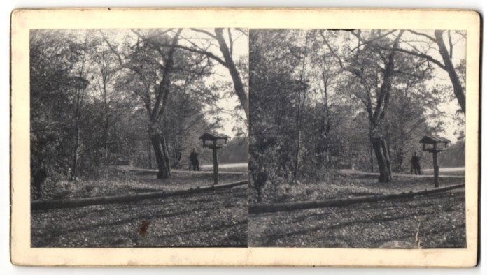 Stereo-Fotografie Schiffmacher, München, Vogelhaus in einem Park
