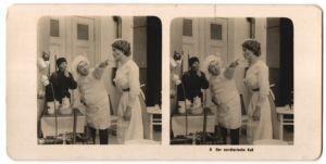 Stereo-Fotografie Der verräterische Kuss, Dienstmädchen wurde vom Schornsteinfeger geküsst