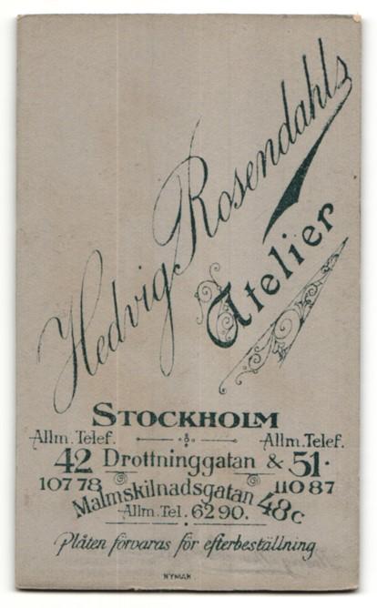 Fotografie Hedvig Rosendahl, Stockholm, Portrait Dame mit zusammengebundenem Haar 1