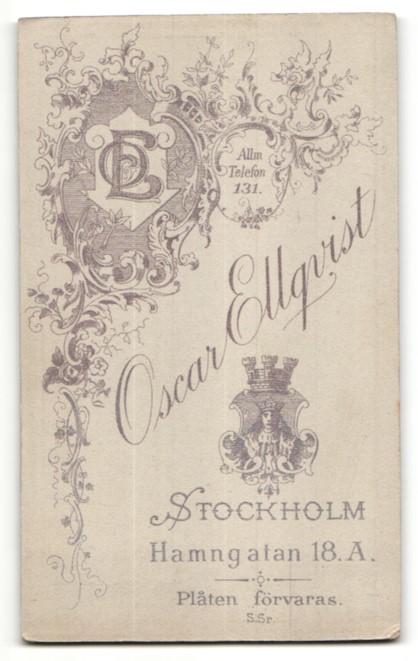 Fotografie Oscar Ellqvist, Stockholm, Portrait Dame in Kleid 1