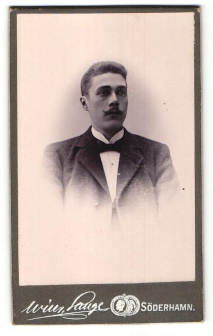 Fotografie Wilh. Lange, Söderhamn, Portrait Mann mit Zwirbelbart im Anzug