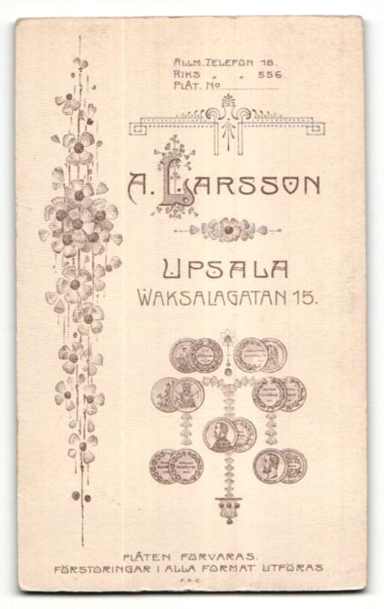 Fotografie A. Larsson, Upsala, Portrait Frau in weisser Bluse mit Hochsteckfrisur 1