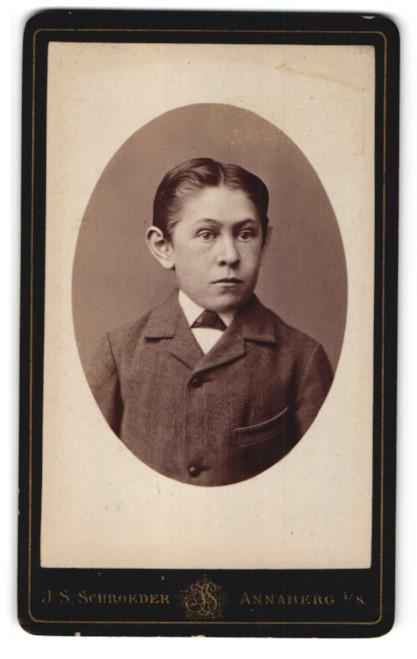 Fotografie J. S. Schroeder, Annaberg i / S., Portrait Junge mit Fliege im Anzug 0