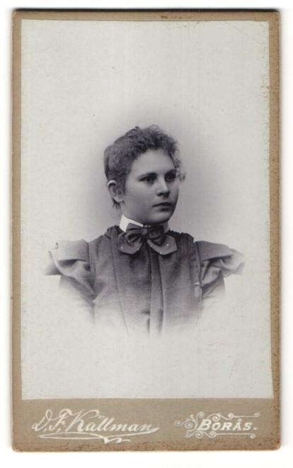 Fotografie D. F. Källman, Boras, Portrait junge Frau im bürgerlichen Kleid 0