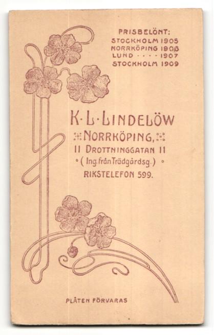 Fotografie K. L. Lindelöw, Norrköping, Portrait junge Frau in zeitgenössischer Bluse 1