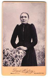 Fotografie David Högberg, Malmköping, Portrait Frau im bürgerlichen Kleid mit Kragenbrosche