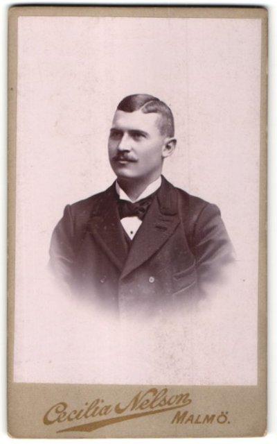 Fotografie Cecilia Nelson, Malmö, Portrait junger dunkelhaariger Mann mit charmantem Blick und schwarzer Fliege