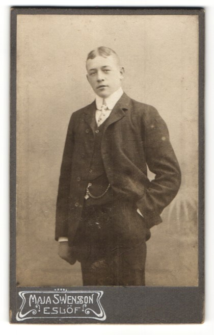 Fotografie Maja Swensson, Eslöf, Portrait charmanter junger Mann mit Scheitel und Krawatte im Anzug