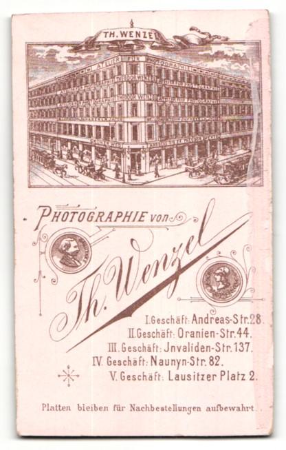 Fotografie Theodor Wenzel, Berlin, rückseitige Ansicht Berlin, Atelier Andreas-Str. 28, vorderseitig Portrait Kleinkind