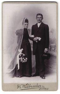 Fotografie H. Walbrecker, Zittau, Portrait Braut und Bräutigam, Hochzeit