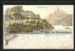 Lithographie Vierwaldstättersee, Tellskapelle und Hotel am See