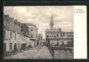 AK Suez, Mosqué et Rue, Blick zur Moschee