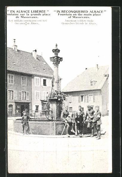AK Alsace, Fontaine sur la grande place de Massevaux, Soldaten am Brunnen