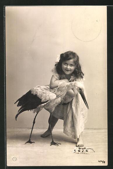 AK Mädchen mit zahmem Storch
