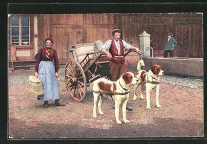 AK Berhardiner-Hundegespann vorm Milchkarren