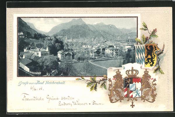 Passepartout-Lithographie Bad Reichenhall, Ortsansicht aus der Vogelschau, Wappen