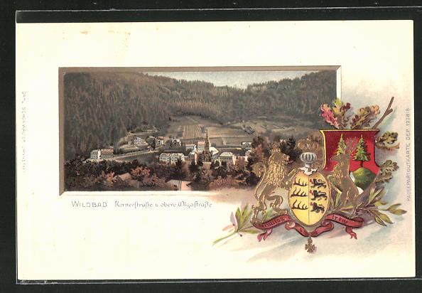 Passepartout-Lithographie Wildbad, Ortspartie mit Kernerstrasse und obere Olgastrasse, Wappen