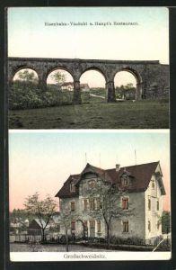 Goldfenster-AK Grossschweidnitz, Eisenbahn-Viadukt u. Haupt`s Restaurant mit leuchtenden Fenstern