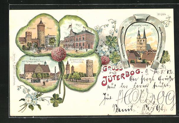 Passepartout-Lithographie Jüterbog, Kleeblatt mit Zinnaer Thor, Post, Rathaus mit Kriegerdenkmal, Stadtmauer