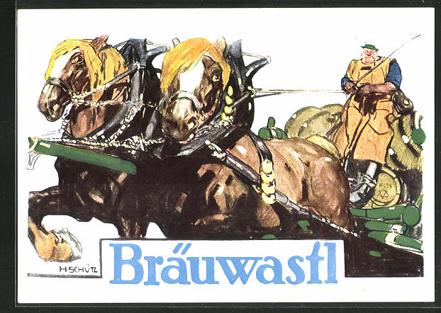 KünstlerAK Weilheim / Oberbayern, Brauerei Bräuwastl, Pferdegespann