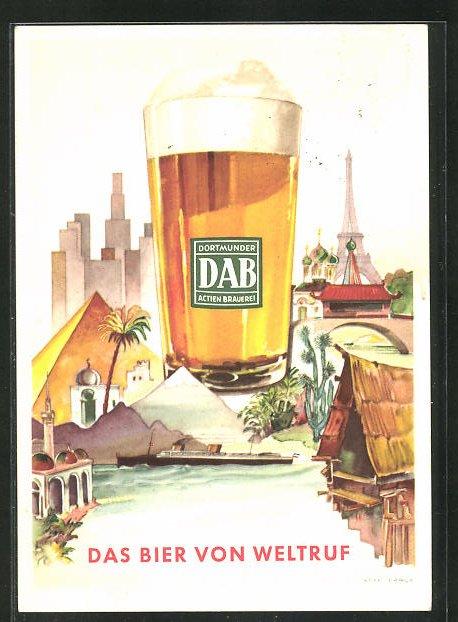 AK DAB Dortmunder Actien Brauerei, Das Bier von Weltruf