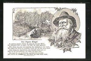 AK Jagdhumor, Porträt eines Jägers, Verse Des Jägers Klage, Jäger am Wegrand sitzend
