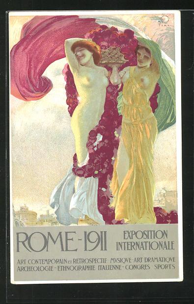 Künstler-AK Terzi: Rome, Exposition Internationale 1911, Art, Musque, Archeologie, Nackte Frauen mit ital. Flagge