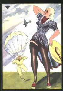 Künstler-AK sign. Burattin: Art Deco, Frau wartet auf einem Fallschrimspringer