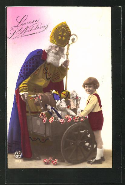 AK Nikolaus mit Wagen und Spielzeug