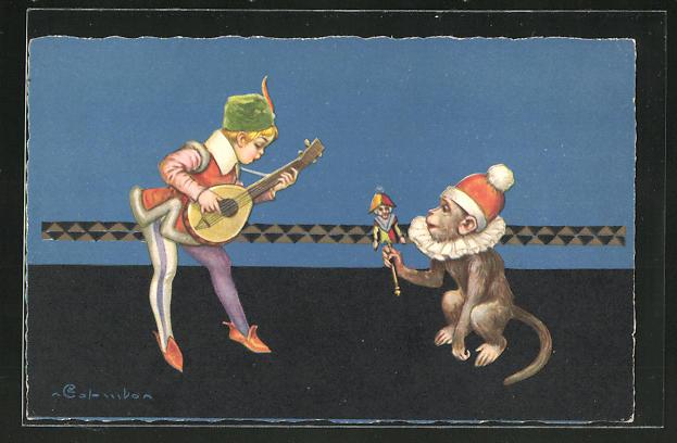 Künstler-AK E. Colombo: Musiker und Affe mit Kasperle