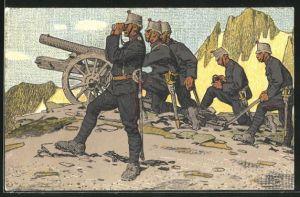 Künstler-AK Carl Moos: Schweizer Soldaten in Uniform mit Kanone
