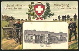 Präge-AK Thun, Kaserne, schweizer Soldaten in Uniform mit Kanone