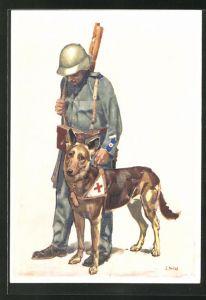 Künstler-AK Bundesfeier 1937 für das Schweizerische Rote Kreuz, Führer mit Sanitätshund, Ganzsache