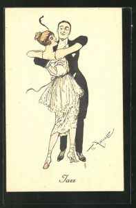 Künstler-AK Theo Zasche: Jazz, Paar beim Tanz