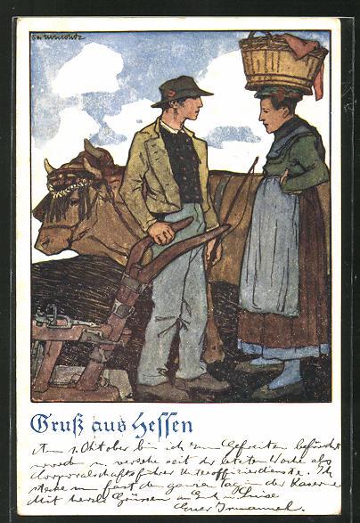 Künstler-AK Otto Ubbelohde: Hessisches Bauernpaar mit Ochsengespann auf dem Feld