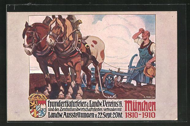 Künstler-AK Angelo Jank: München, Hundertjahrfeier d. Landw. Vereins i. Bayern & Landw. Ausstellung 1910
