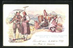 Lithographie Luzern, Kantonale Landwirtschaftliche Ausstellung 1899, Bauern beim Melken der Kuh