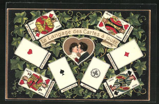 Präge-AK Le Langage des Cartes a jouer, Sprache der Spielkarten, Liebespaar