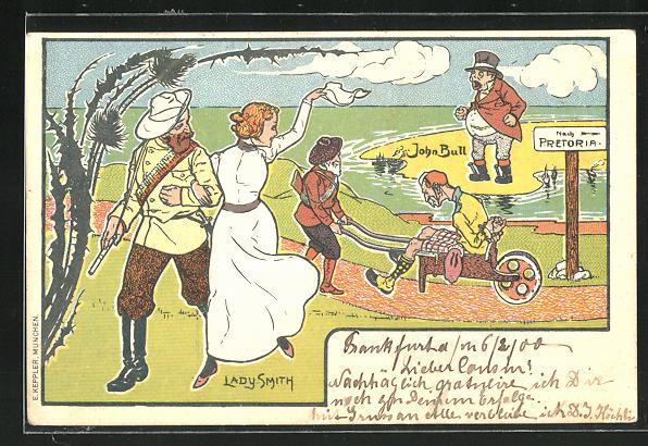 Lithographie John Bull auf einer Sandbank & Lady Smith winkt zum Abschied, Burenkrieg