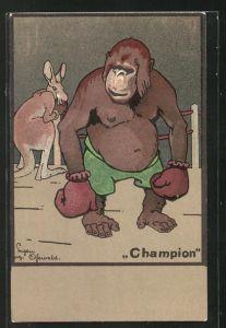 Künstler-AK sign. Eigen Osswald: Champion, Känguruh und Affe im Ring, Boxen
